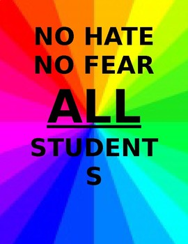 Classroom Inclusion Poster No Hate All Students Welcome