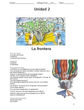 Unit Packet -La Frontera & Inmigracion The Boarder and Immigration