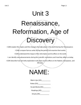 Unit 3 Packet:  Renaissance, Reformation, and the Age of Discovery