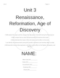 Unit 3 Packet:  Renaissance, Reformation, and the Age of D