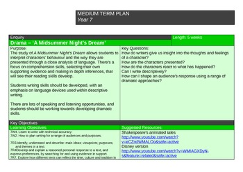 Unit Plan - A Midsummer Nights Dream