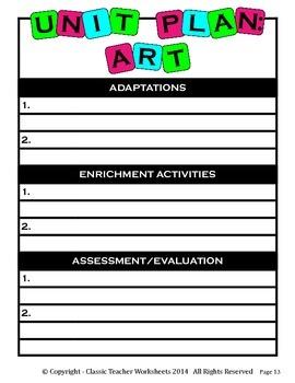 Unit Plan - Art Unit Plan - Template - Up to Six Topics