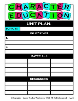 Unit Plan - Character Education Unit Plan - Template - Up to Six Topics