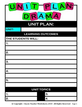 Unit Plan - Drama Unit Plan - Template - Up to Four Topics