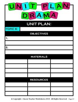 Unit Plan - Drama Unit Plan - Template - Up to Six Topics