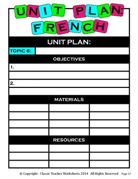 Unit Plan - French Unit Plan - Template - Up to Six Topics