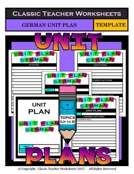 Unit Plan - German Unit Plan - Template - Up to Six Topics