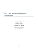 Unit Plan: Human-Environmental Interactions Grade 9