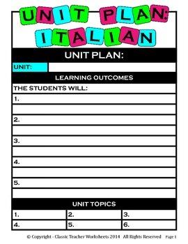 Unit Plan - Italian Unit Plan - Template - Up to Six Topics
