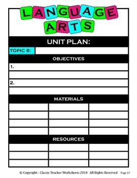 Unit Plan - Language Arts Unit Plan - Template - Up to Six Topics