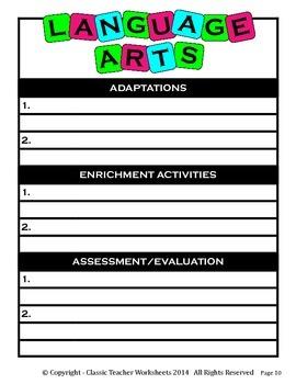 Unit Plan - Language Arts Unit Plan - Template - Up to Six Topics