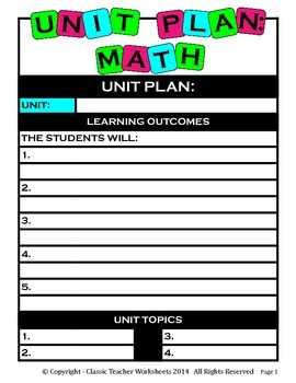 Unit Plan - Math Unit Plan - Template - Up to Four Topics