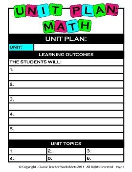 Unit Plan - Math Unit Plan - Template - Up to Six Topics