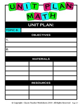 Unit Plan - Math Unit Plan - Template - Up to Six Topics
