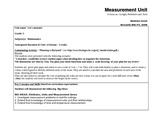 Unit Plan - Measurement - Grade 5