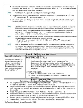 Unit Plan (Modified UBD) - Exponential Notation and Integer Exponents