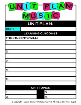 Unit Plan - Music Unit Plan - Template - Up to Four Topics