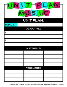 Unit Plan - Music Unit Plan - Template - Up to Six Topics