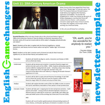 Unit Plan Newsletter Template: 20th Century American Drama