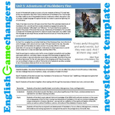 Unit Plan Newsletter Template: Adventures of Huckleberry Finn