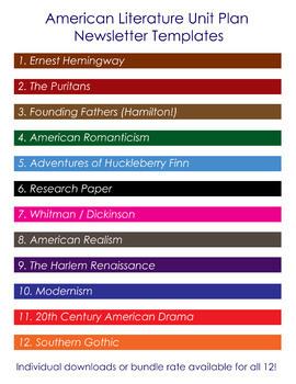 Unit Plan Newsletter Template: American Romanticism