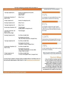 Unit Plan Newsletter Template: Ernest Hemingway