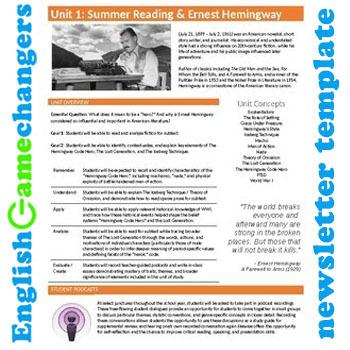Unit Plan Newsletter Template: Ernest Hemingway