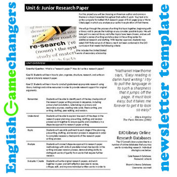 Unit Plan Newsletter Template: Literary Criticism Research Paper