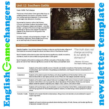 Unit Plan Newsletter Template: Southern Gothic
