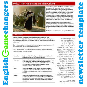 Unit Plan Newsletter Template: The Puritans