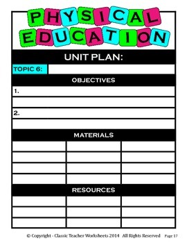 Unit Plan - Physical Education Unit Plan - Template - Up to Six Topics