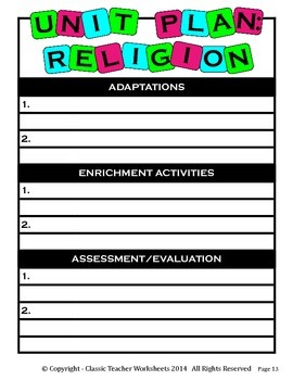 Unit Plan - Religion Unit Plan - Template - Up to Four Topics