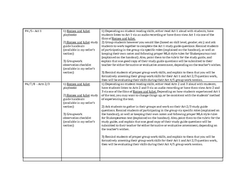 Unit Plan - Romeo and Juliet by William Shakespeare