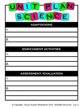 Unit Plan - Science Unit Plan - Template - Up to Four Topics