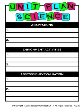 Unit Plan - Science Unit Plan - Template - Up to Six Topics