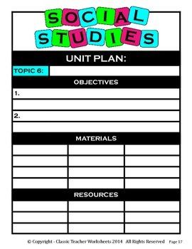 Unit Plan - Social Studies Unit Plan - Template - Up to Six Topics