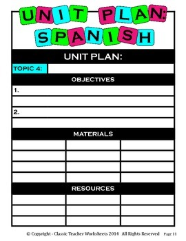 Unit Plan - Spanish Unit Plan - Template - Up to Four Topics