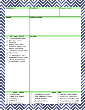 Unit Plan Template - WORD Document, Lime Green and Navy Chevron