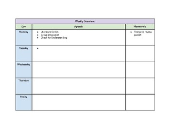 Unit Plan Template (With Vocabulary Page and Weekly Overview Page)