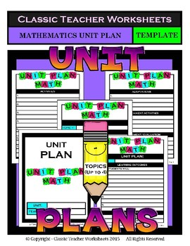Unit Plan Templates Bundle - Set 1 - Up to 4 Topics - LA Math Science Social