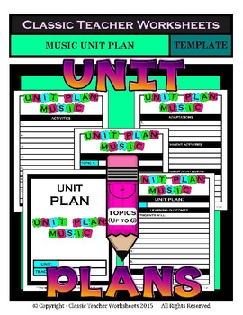 Unit Plan Templates Bundle - Set 2 - Up to 6 Topics - PE Art Music Health