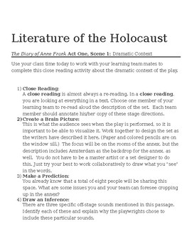 Unit Plan for Anne Frank and The Literature of the Holocaust