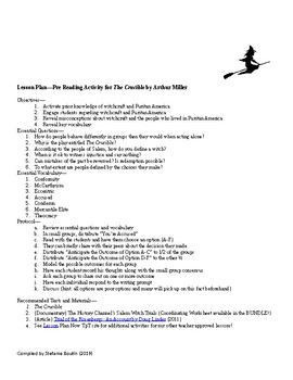 Comprehensive Unit Plan for Arthur Miller's The Crucible; CCSS Aligned