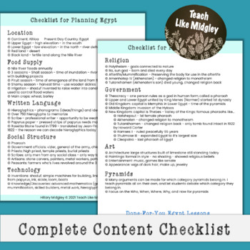 Unit Planning Checklist Bundle for Ancient Civilizations