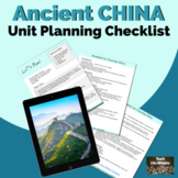 Unit Planning Checklist for Ancient China