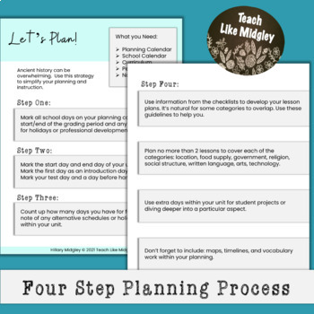 Unit Planning Checklist for Ancient Egypt