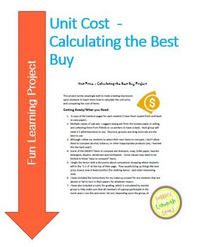Unit Price - Calculating the Best Buy Project
