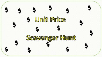 Unit Price Scavenger Hunt