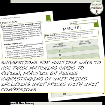 Unit Prices with unit conversions Word Problems Task Card Activity