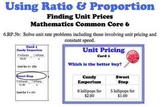 Unit Pricing Ratio Proportion Common Core 6 Task Cards